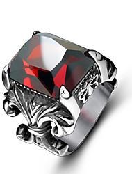 Ringen imitatie Ruby Feest Sieraden Titanium Staal Heren Ring 1 stuks,15 Zilver