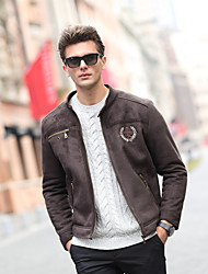 Men's Going out Vintage Jackets,Solid Long Sleeve Brown PU