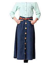 Women's A Line Solid Denim Skirts,Casual/Daily Simple Mid Rise Midi Button Linen Micro-elastic Spring / Fall