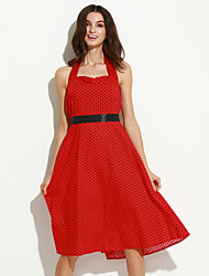 Women's Going out Vintage A Line Dress,Polka Dot Halter Knee-length Sleeveless Red Polyester Summer