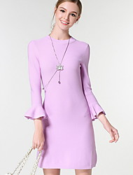 Women's Going out / Casual/Daily Simple / Cute Sweater Dress,Solid Round Neck Knee-length Long Sleeve Pink Cotton / Nylon Fall Mid Rise