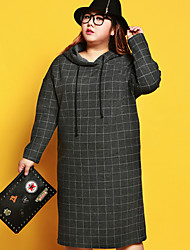 JAZZ Women's Plus Size / Casual/Daily Simple Loose DressStriped Hooded Midi Long Sleeve Gray Nylon / Spandex / Others Fall / Winter Mid Rise