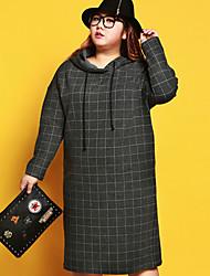 Ample Robe Femme Décontracté / Quotidien / Grandes Tailles simple,Rayé Capuche Midi Manches Longues Gris Nylon / Spandex / AutresAutomne