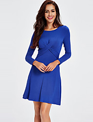 Women's Casual/Daily / Holiday Simple / Street chic Slim Sheath DressSolid Pleated Round Neck Above Knee Long Sleeve Spring