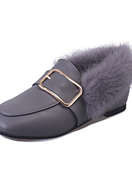 Women's Loafers & Slip-Ons Winter Moccasin-gommino Comfort PU Dress / Casual Flat Heel Buckle Black / Gray