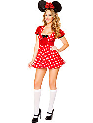 Cosplay Costumes Santa Suits / Cosplay / Bunny Girls Movie Cosplay Red Solid Dress / Headwear Halloween / Christmas / Carnival Female