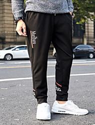 Masculino Reto Chinos Calças-Cor Única Casual Simples Cintura Média Com Cordão Algodão Micro-Elástico Com Molas / Outono