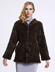 BF-Fur Style Women's Casual/Daily Sophisticated Fur CoatSolid Hooded Long Sleeve Winter Black / Brown Others