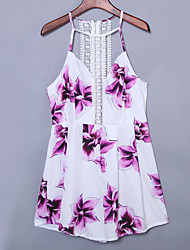 Women's Casual/Daily Sexy Sheath Dress,Floral Halter Mini Sleeveless White Polyester Summer