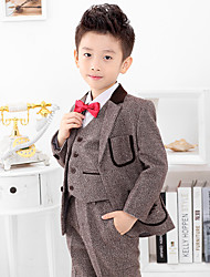 Polyester Ring Bearer Suit - 1 Pieces Includes  Jacket / Shirt / Vest / Pants / Bow Tie / Long Tie