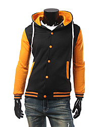 Men's Sports Active Jackets,Solid Hooded Long Sleeve Fall / Winter Multi-color Cotton Thick