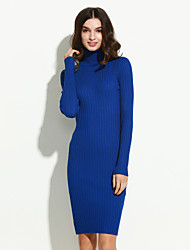 Women's Simple Bodycon Dress,Solid Turtleneck Above Knee Long Sleeve Blue / Pink / White / Black / Green Cotton / Polyester Winter