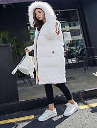 Feminino Longo Casaco Capa,Moda de Rua / Sofisticado Sólido Trabalho / Esportivo-Algodão Polipropileno Manga Longa Colarinho Chinês Branco