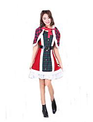 Fantasias de Cosplay Ternos de Papai Noel Cosplay de Filmes Vermelho Xadrez Vestido / Xale / Cinto Natal Feminino Poliéster