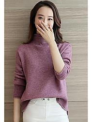 Damen Kurz Pullover-Lässig/Alltäglich Einfach Solide Lila Rollkragen ¾-Arm Polyester Herbst Winter Mittel Mikro-elastisch