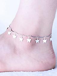 Mulher liga de prata tornozeleira fecho da lagosta