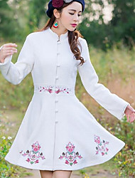 Women's Going out Simple Coat,Solid Round Neck Long Sleeve Spring White Cotton Medium
