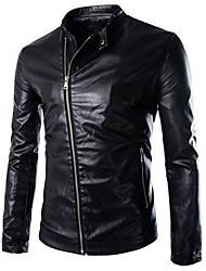 Men's Going out / Casual/Daily Simple / Active Leather Jackets,Solid Stand Long Sleeve Black / Green / Purple Cowhide