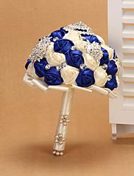 Hochzeitsblumen Rundförmig Rosen Sträuße Satin ca.23cm