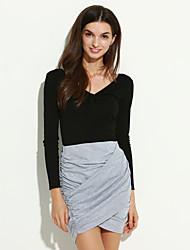 Women Skirt Fold Stretch Waist Wrap Front Asymmetric Hem Elastic Clubwear Sexy Mini Skirt