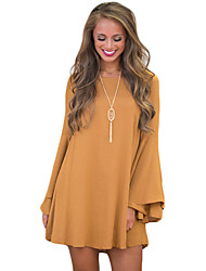 Women's Flare Sleeve Casual/Daily Simple Loose Dress,Solid Round Neck Above Knee Long Sleeve Yellow Cotton Summer Mid Rise Micro-elastic Medium