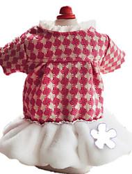 Dog Dress Pink Dog Clothes Winter / Spring/Fall Flower Keep Warm