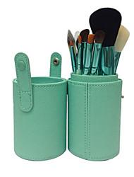 12 Makeup Brushes Set Goat Hair Professional / Portable Wood Handle Face/Eye/Lip Green