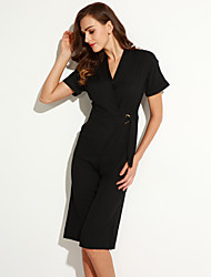 Women's Solid Red / Black Jumpsuits,Casual / Day V Neck Short Sleeve