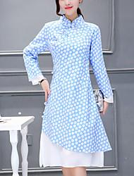 Feminino Bainha Vestido, Para Noite Temática Asiática Estampado Colarinho Chinês Assimétrico Manga Longa Azul / Rosa Algodão / Linho