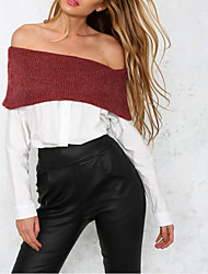 Women's Going out / Casual/Daily / Holiday Sexy / Street chic / Tops Fall / Winter Shirt,Patchwork Off-the-shoulder Long Sleeve White