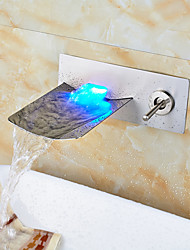 Wall Mounted Nickel Brushed LED Waterfall Bathroom Sink Faucet