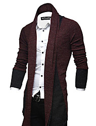 Men's Casual/Daily Vintage Long Cardigan,Solid Red Black Gray V Neck Long Sleeve Wool Winter Thick Stretchy