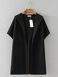 Women's Casual/Daily Simple Trench Coat,Solid Hooded ¾ Sleeve Spring / Fall Black / Brown Polyester Medium