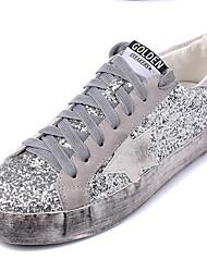 Homme-Décontracté-Argent-Plateforme-Confort-Sneakers-Paillette