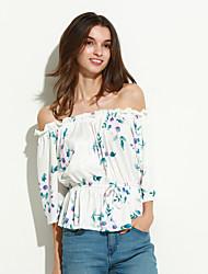 Tee-shirt Aux femmes,Fleur Décontracté / Quotidien Vintage Printemps Manches ¾ Bateau Blanc / Noir Polyester Moyen