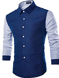 Men's Casual/Daily Simple Shirt,Color Block Square Neck Long Sleeve Blue / White Cotton Medium