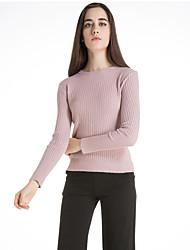 Mujer Regular Pullover Casual/Diario Vintage,Un Color Azul Rosa Blanco Negro Marrón Escote Redondo Manga Larga Lana Invierno Medio
