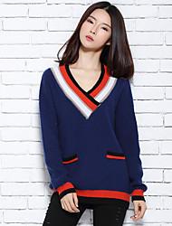 Женский Офис / Праздник Очаровательный / Шинуазери (китайский стиль) Обычный Пуловер С принтом,Несколько цветов V-образный вырезДлинный