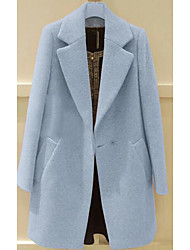 Women's Casual/Daily Simple Coat,Solid Long Sleeve Blue / Purple Polyester