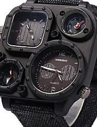 Men's Sport Watch Military Watch Dress Watch Fashion Watch Wrist watch Dual Time Zones Punk Quartz Fabric Band Vintage Cool Casual Luxury