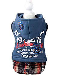 Dog Dress Blue / Gray Dog Clothes Winter / Spring/Fall Letter & Number Keep Warm