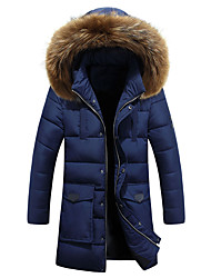 Famous Brand Design Men's Long Padded CoatSimple Plus Size Solid-Polyester Polyester Long Sleeve Hooded Blue