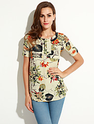 Summer/Fall Casual/Daily/Plus Size Women's Tops Round Neck Short Sleeve Floral Printing Loose Shirt Blouse