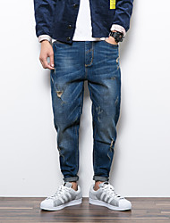 Men's Harem Jeans Pants,Casual/Daily Simple Solid Mid Rise Zipper Cotton Inelastic Spring / Fall