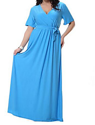 Women's Going out Casual/Daily Holiday Simple Loose Dress,Solid V Neck Maxi Short Sleeve Polyester Summer Mid Rise Micro-elastic Medium