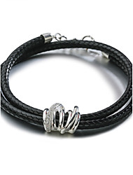 SILVERAGE Sterling Silver Black Leather Wrap Bracelet