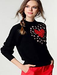 Damen Standard Pullover-Ausgehen Lässig/Alltäglich Einfach Niedlich Druck Rosa Weiß Lila Rundhalsausschnitt Langarm Polyester Frühling