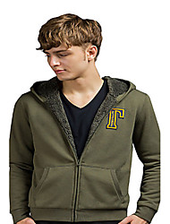 Trenduality® Men's Round Neck Long Sleeve Hoodie & Sweatshirt Green - 31568