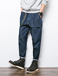 Men's Straight Jeans Pants,Casual/Daily / Club Vintage Solid Mid Rise Zipper Linen Micro-elastic Spring / Fall