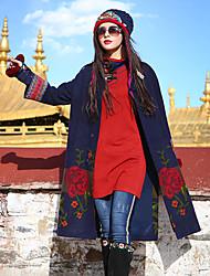 Our Story Women's Casual/Daily Boho CoatFloral V Neck Long Sleeve Winter Blue Rabbit Fur / Acrylic